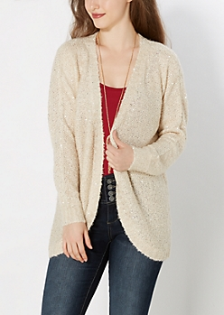 Champagne Sequined Cocoon Cardigan