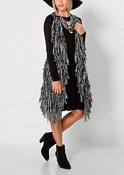 Black Marled Knit Fringe Vest