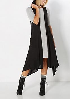 Black Sleeveless Knit Duster