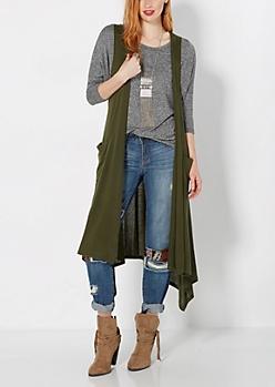 Dark Olive Green Sleeveless Knit Duster