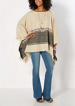 Block Striped Knit Poncho