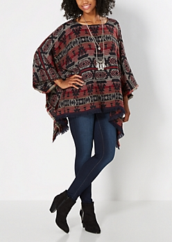 Red Western Fringed Poncho