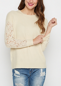 Ivory Lace Sleeve Sweater By Clover + Scout®