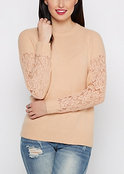 Pink Lace Sleeve Sweater By Clover + Scout®