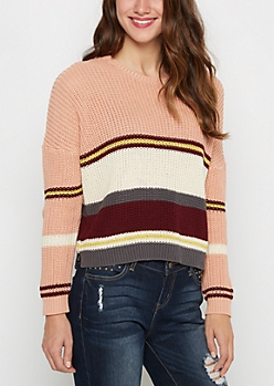 Pink Striped Crop Sweater By Clover + Scout®