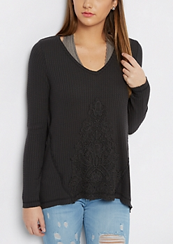 Black Crochet Inset Thermal Top