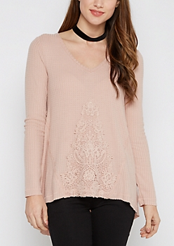 Pink Crochet Inset Thermal Top