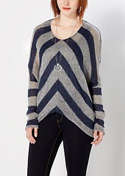 Navy Chevron Dolman Sweater