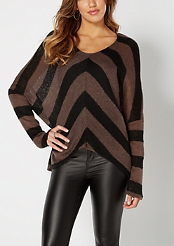 Burgundy Chevron Dolman Sweater