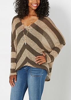 Tan Chevron Dolman Sweater