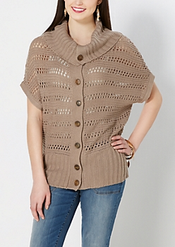Taupe Knit Button Down Sweater