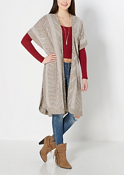 Taupe Chevron Knit Duster