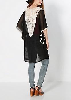 Black Wrapped In Love Crochet Wrap