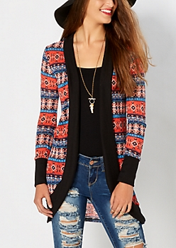 Coral Boho Knit Duster
