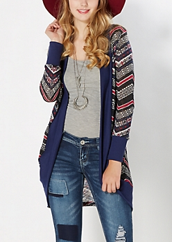 Navy Tribal Knit Duster
