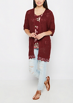 Burgundy Lace Trim Cardigan