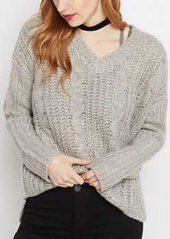 Gray Chunky Cable Knit Sweater
