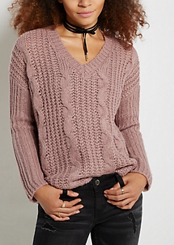 Pink Chunky Cable Knit Sweater