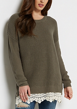 Olive Lace Trimmed Sweater