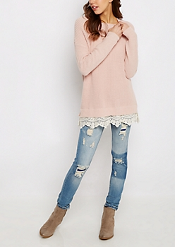 Pink Lace Trimmed Sweater