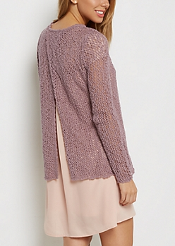 Mauve Pointelle Split Back Sweater