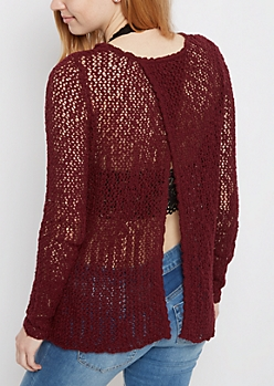 Burgundy Pointelle Split Back Sweater