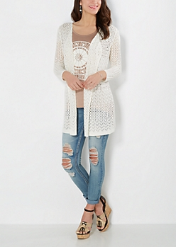 Ivory Pointelle Knit Cardigan