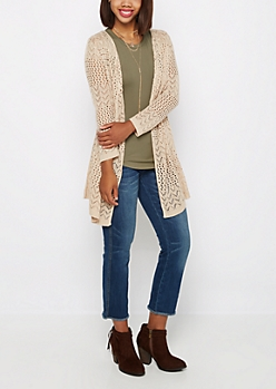 Sand Pointelle Knit Cardigan