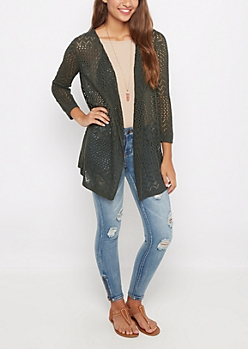 Dark Olive Pointelle Knit Cardigan