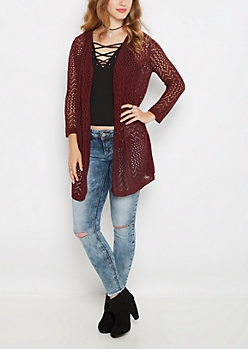 Burgundy Pointelle Knit Cardigan