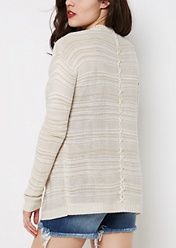 Lattice Back Marled Cardigan