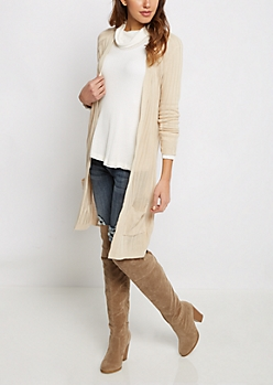 Taupe Rib Knit Cardigan Duster