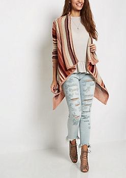 Red Striped Cascading Cardigan