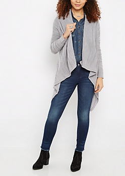 Gray Shadow Striped Cardigan
