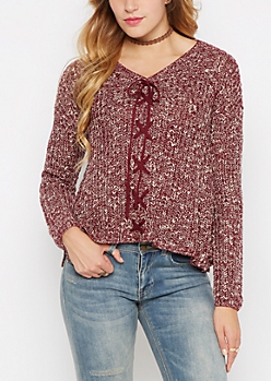 Burgundy Marled Lace-Up Sharkbite Sweater