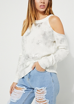 White Metallic Distressed Cold Shoulder Sweater