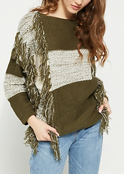 Blocked Thick Knit Fringe Sweater