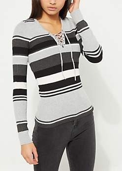 Black Striped Lace-Up Knit Top