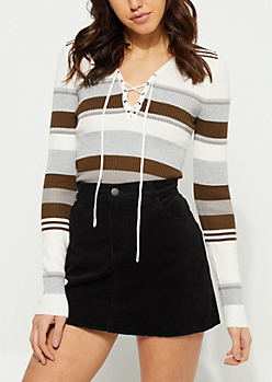 Olive & Gray Striped Lace-Up Knit Top