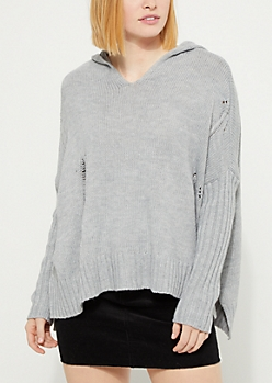 Heather Gray Distressed Hooded Sweater