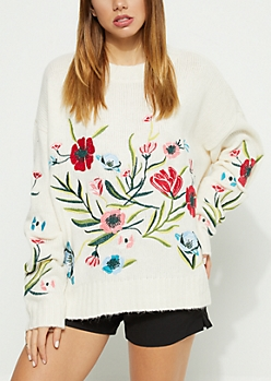 Ivory Floral Embroidered Boxy Sweater