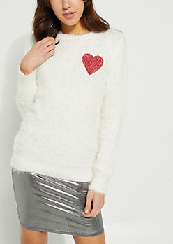White Eyelash Knit Heart Sweater