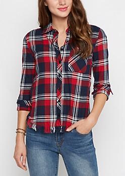 Red & Navy Frayed Hem Plaid Shirt