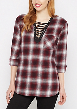 Burgundy Plaid Lattice Top