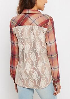 Orange Plaid Lace Back Flannel Top