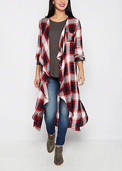 Plaid Cascading Duster