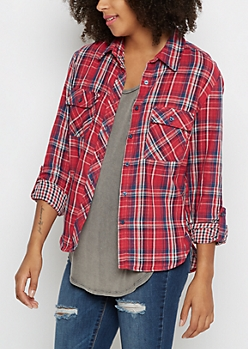 Red Plaid Gauze Layered Shirt