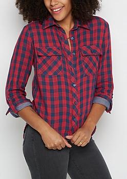 Plaid Chambray Layered Shirt