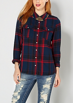 Navy Tartan Plaid Flannel Top
