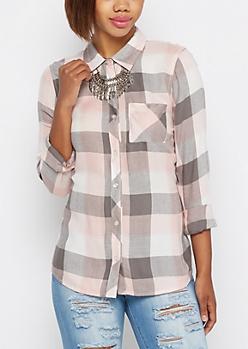 Pink Herringbone Buffalo Brushed Shirt